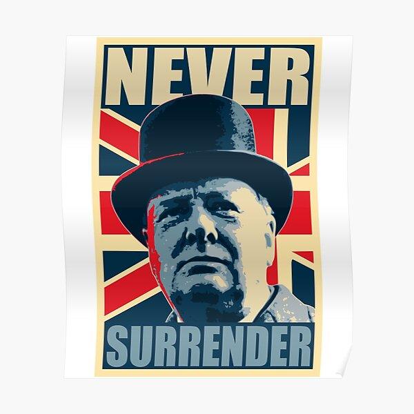 Winston Churchill Never Surrender Propaganda Poster Pop Art  Poster