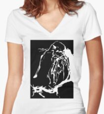 Black and White Abstract Women's Fitted V-Neck T-Shirt