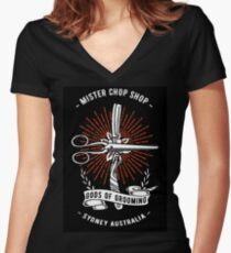 Chop Shop Gods of Grooming Red Women's Fitted V-Neck T-Shirt