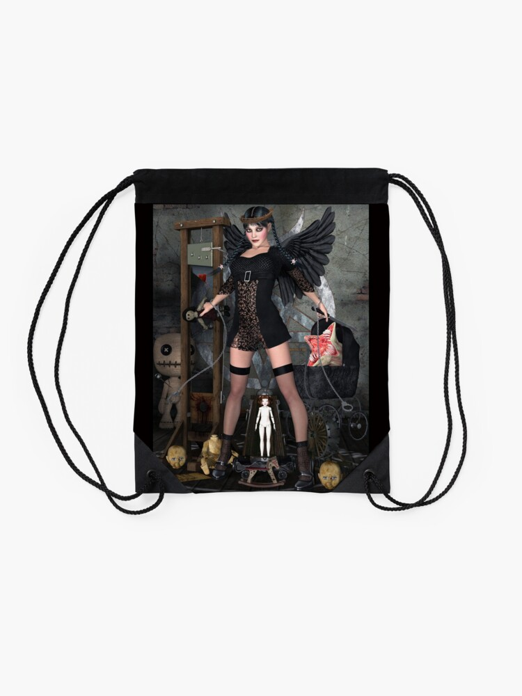 Alternate view of Wednesday Addams Fallen Witch Angel Drawstring Bag
