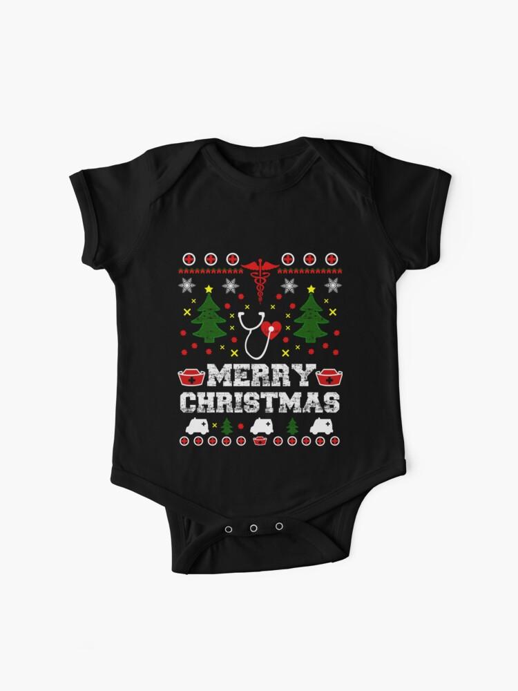 Nurse Christmas Sweater.Nurse Ugly Sweater Christmas Baby One Piece