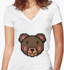 Bear Video Game Pixel Graphic Retro Games Gift 16 Bit Women's Fitted V-Neck T-Shirt