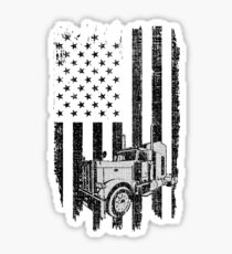 Patriotic Truck Driver American Flag Trucker T Shirt Tee Gift Sticker