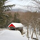 Red covered bridge in snow covered mountains by Ryan McGurl