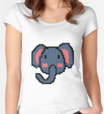 Pixel Elephant Retro Game Vintage 16 Bit Gift Women's Fitted Scoop T-Shirt