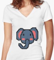 Pixel Elephant Retro Game Vintage 16 Bit Gift Women's Fitted V-Neck T-Shirt