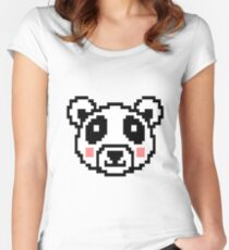 Video Game Panda 16 Bit Retro Graphic Game Women's Fitted Scoop T-Shirt