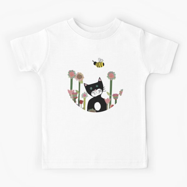 Whimsical Black Cat in the Garden Kids T-Shirt
