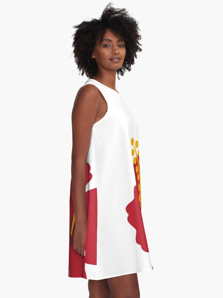 Alternate view of Red Hibiscus Flower A-Line Dress