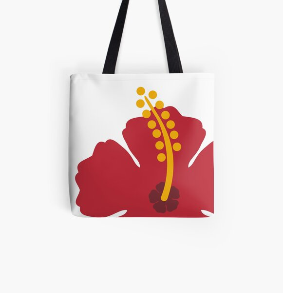 Red Hibiscus Flower All Over Print Tote Bag