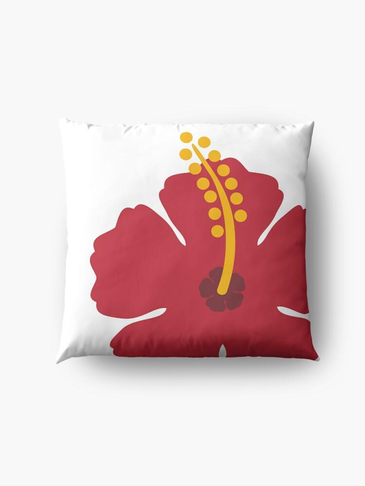 Alternate view of Red Hibiscus Flower Floor Pillow