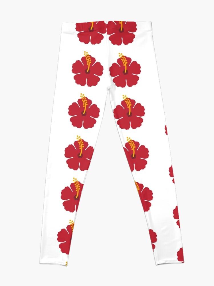 Alternate view of Red Hibiscus Flower Leggings