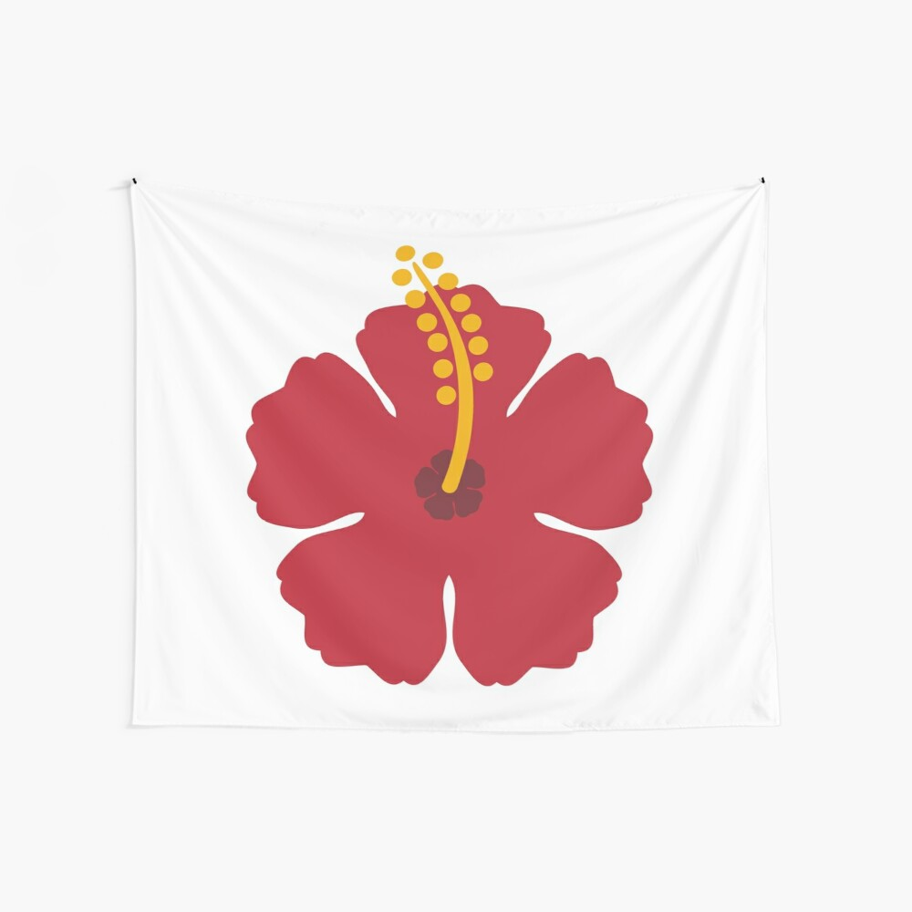 Red Hibiscus Flower Wall Tapestry