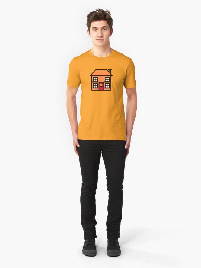 Alternate view of Retro TV Play School house logo graphic Slim Fit T-Shirt