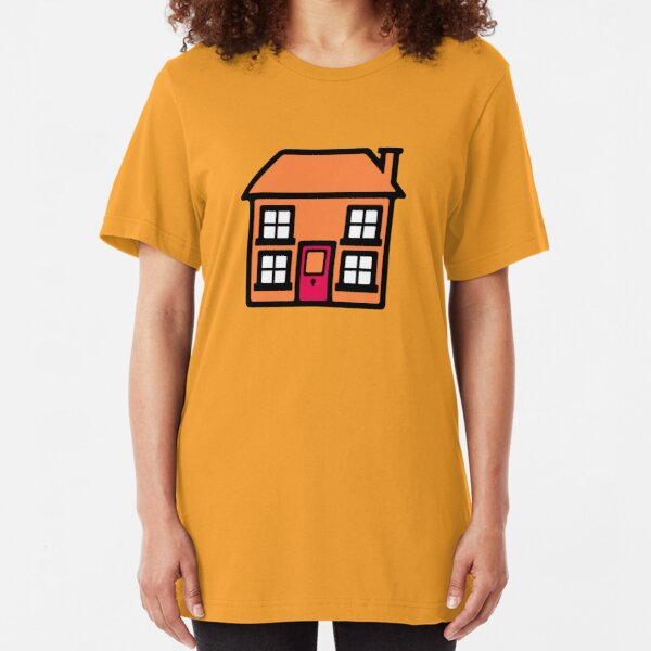 Retro TV Play School house logo graphic Slim Fit T-Shirt