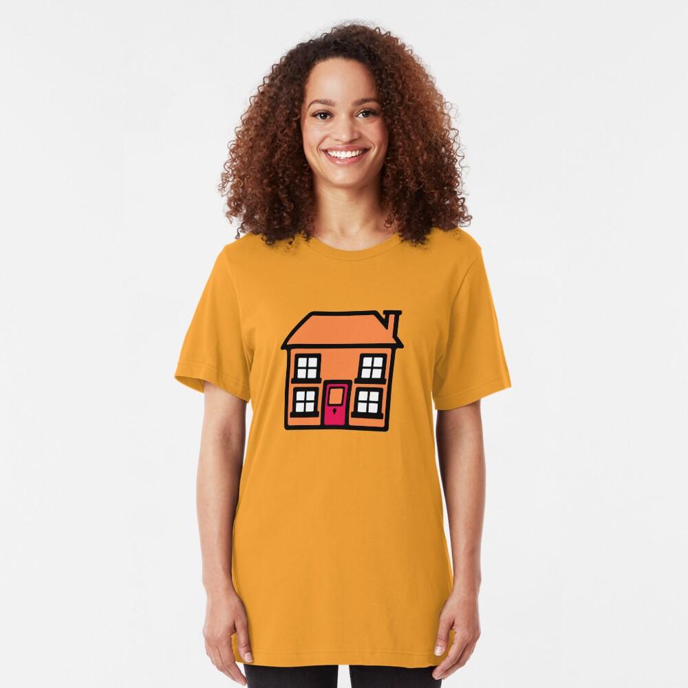 Retro TV Play School house logo graphic Slim Fit T-Shirt