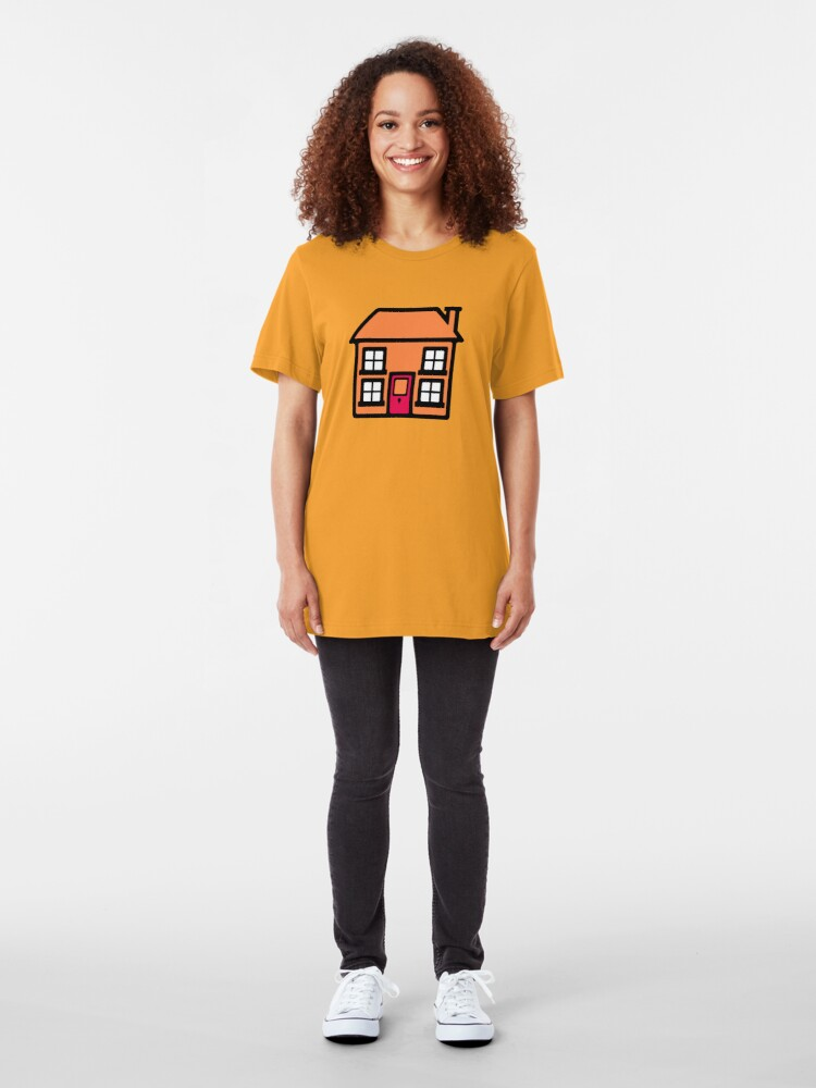 Alternate view of Retro TV Play School house logo graphic Slim Fit T-Shirt