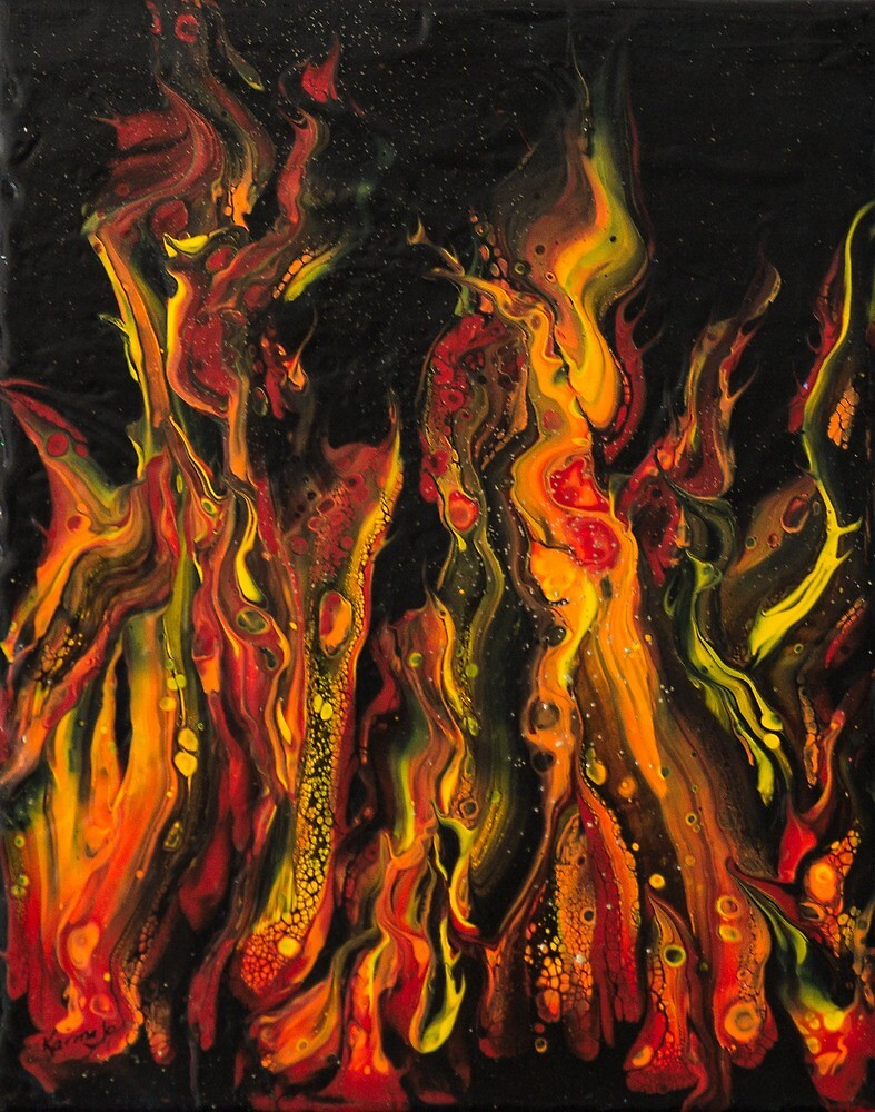 Semi-Abstract acrylic painting of fire by Johanne Brunet