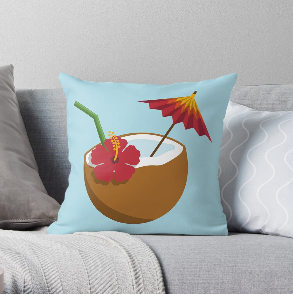 Coconut Cocktail Throw Pillow