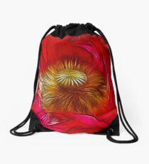 Red Poppy Heart Drawstring Bag