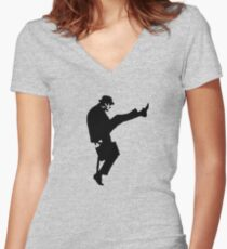 The Funny Walk Ministry Women's Fitted V-Neck T-Shirt