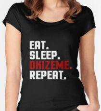 Okizeme by Eye Voodoo - Eat Sleep Repeat Women's Fitted Scoop T-Shirt