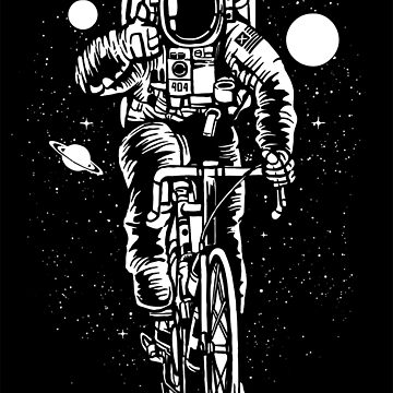 Spaceman Riding a Bicycle! Space Race  by ThatMerchStore