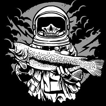 Spaceman Skeleton Fishing Zombie (Halloween)  by ThatMerchStore