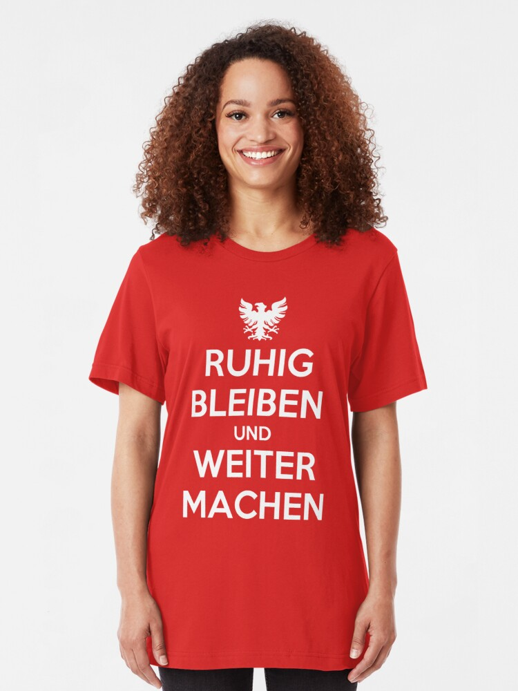 Alternate view of KEEP CALM AND CARRY ON (alternative German version) Slim Fit T-Shirt