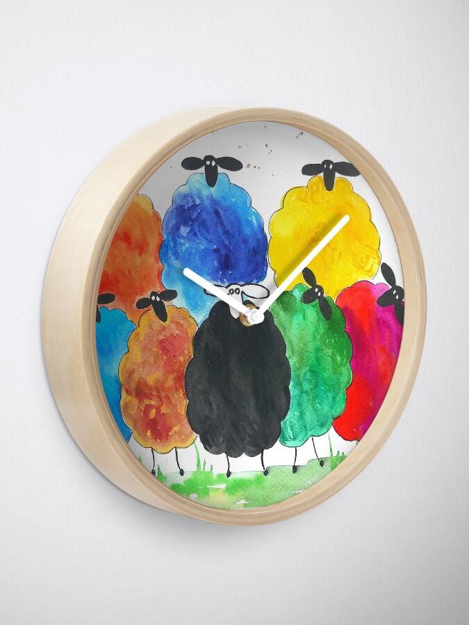 Vista alternativa de Reloj Colorido ovejas 2