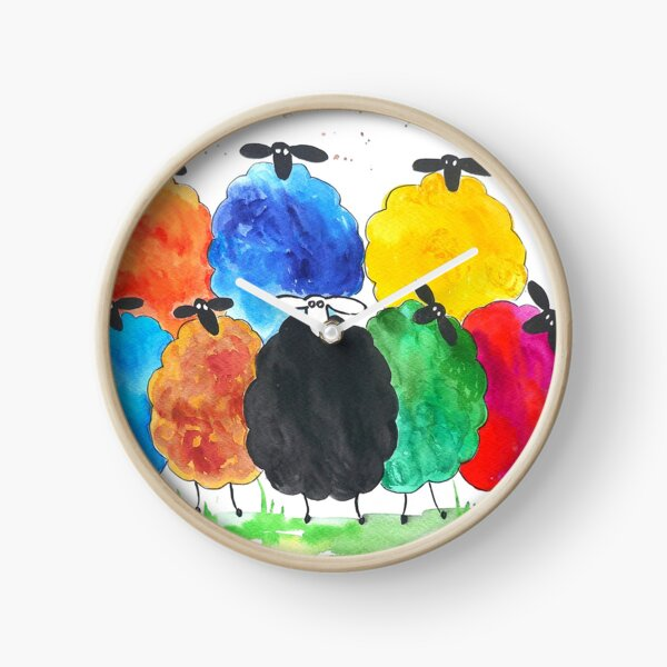 Colourful Sheep 2 Clock