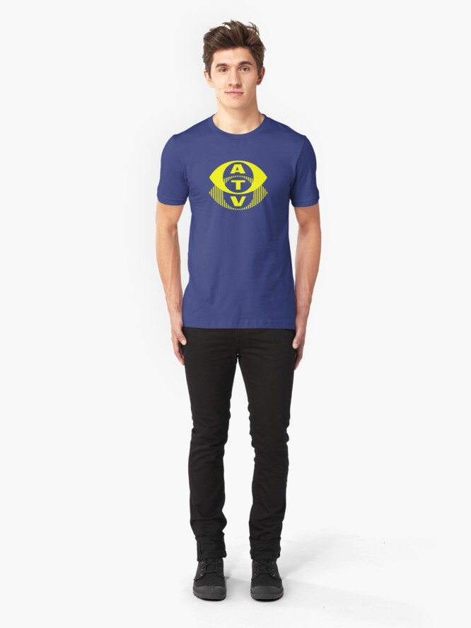 Alternate view of Retro TV ATV in a bright yellow Slim Fit T-Shirt