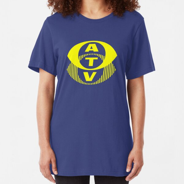 Retro TV ATV in a bright yellow Slim Fit T-Shirt