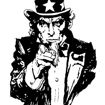 UNCLE SAM in BLACK AND WHITE by TOMSREDBUBBLE