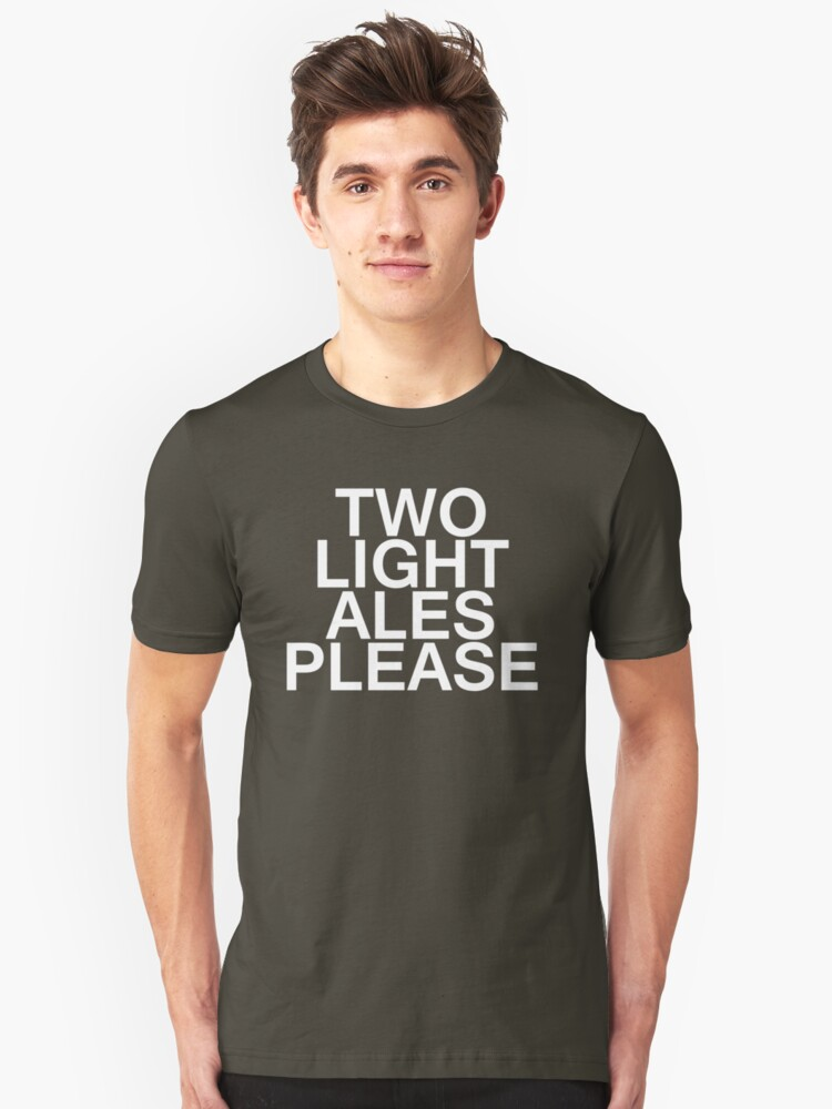 Alternate view of Two Light Ales Please Slim Fit T-Shirt