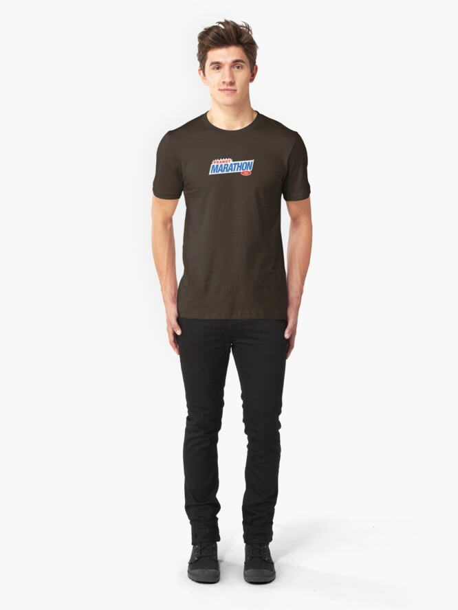 Alternate view of Retro Marathon (not Snickers, kids) chocolate bar logo: only 3p Slim Fit T-Shirt