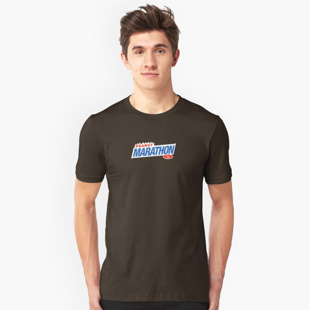 Retro Marathon (not Snickers, kids) chocolate bar logo: only 3p Slim Fit T-Shirt