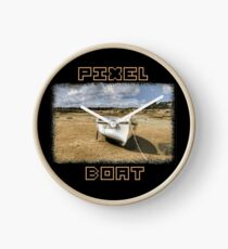 PIXEL BOAT with nice pixel font Clock