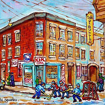 MONTREAL MEMORIES STREET HOCKEY WINTER SCENE PAINTING CANADIAN ART CAROLE SPANDAU  by CaroleSpandau