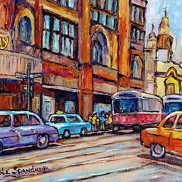 TRAM CARS TAXIS AND TRAFFIC DOWNTOWN CITY SCENE MONTREAL ART CAROLE SPANDAU by CaroleSpandau