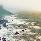 Pacific Shores - Vintage Misty Beach Sunset by artcascadia