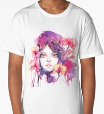 Orchid Mistress. Watercolor fashion illustration Long T-Shirt