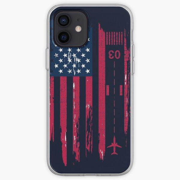 Aviador patriótico de la vendimia piloto de la bandera americana regalo de camisetas Funda blanda para iPhone