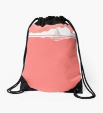 Sail Away With Me - coral version Drawstring Bag