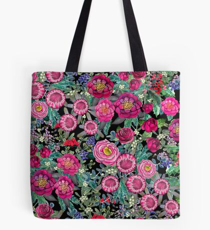 Watercolor dark floral with berries and flowers, hand painted in shades of Maroon, burgundy, pink, red and wine , Fall, winter, holiday Tote Bag