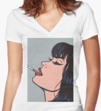 Smoking Girl Fitted V-Neck T-Shirt