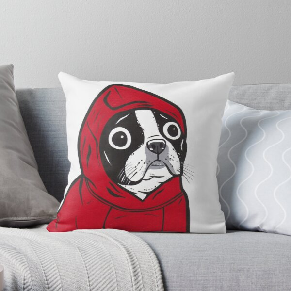 Boston Terrier in a Red Hoodie Throw Pillow