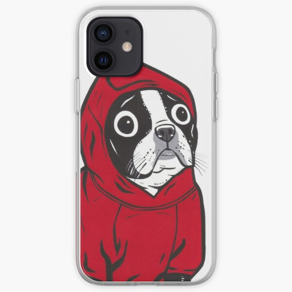Boston Terrier dans un sweat à capuche rouge Coque souple iPhone
