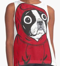 Boston Terrier in a Red Hoodie Contrast Tank