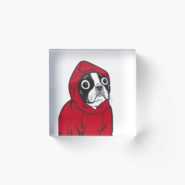 Boston Terrier in a Red Hoodie Acrylic Block